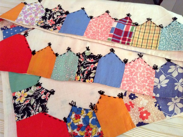 applique borders on muslin tablecloth