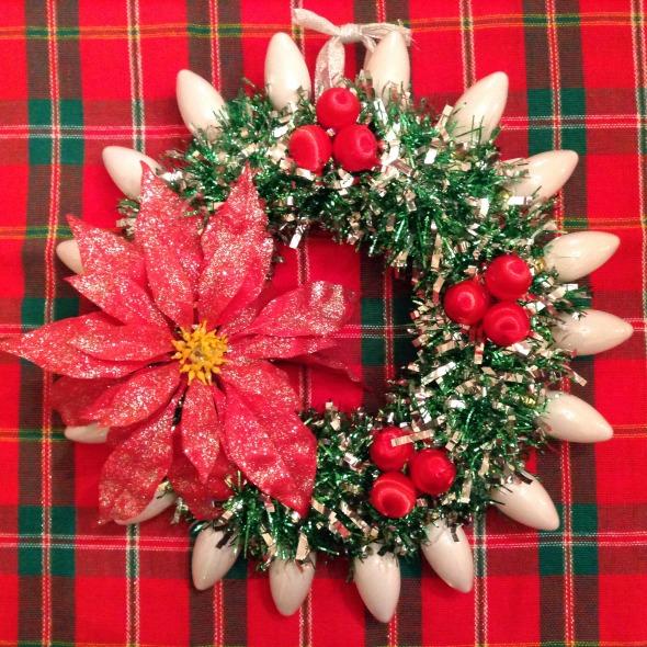 christmas wreath plastic poinsettia