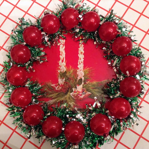 christmas wreath tin tray vintage ornaments