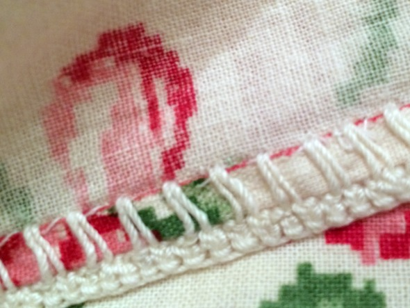 crochet trim and hem detail vintage towel