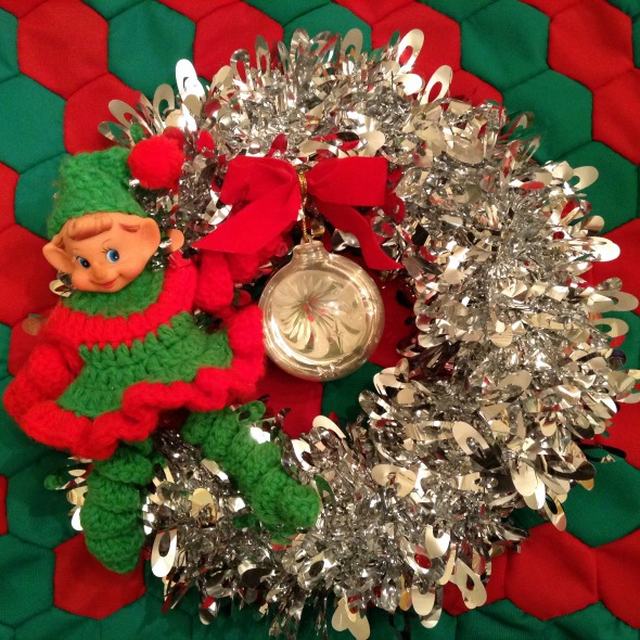 Christmas wreath vintage elf plastic ornament