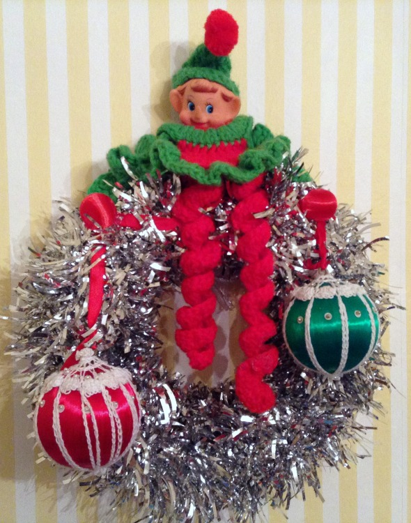 elf with red and green balls