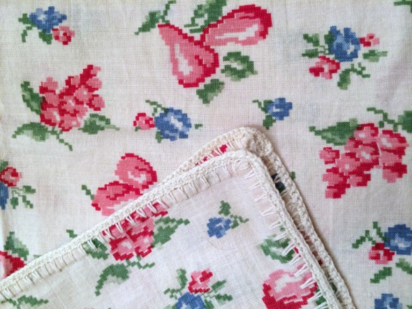 fruit print feedsack detail