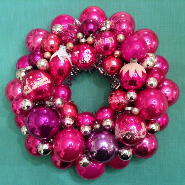 hot pink vintage ornament wreath