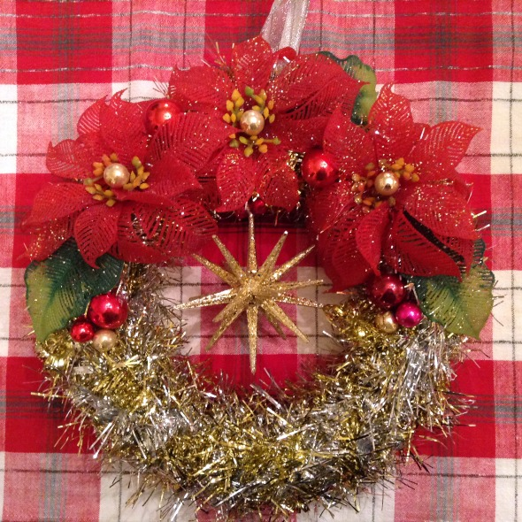 Christ wreath vintage plastic poinsettias