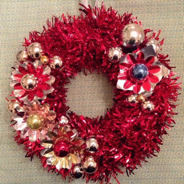 red vintage ornament wreath