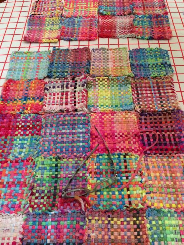 stitching potholder rug