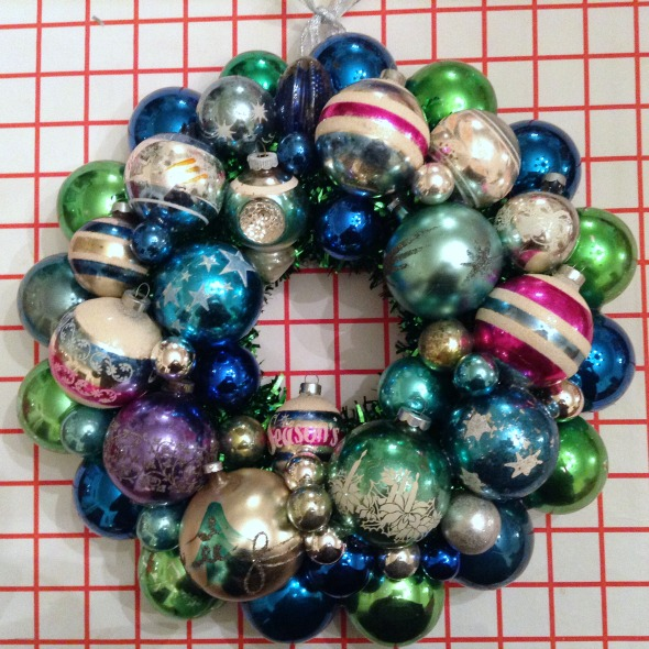 vintage blue ornament wreath