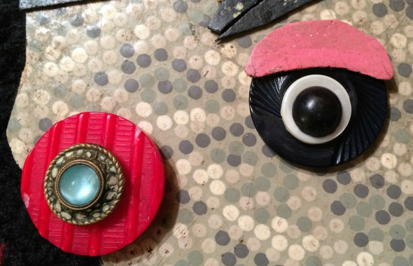 vintage linoleum and buttons