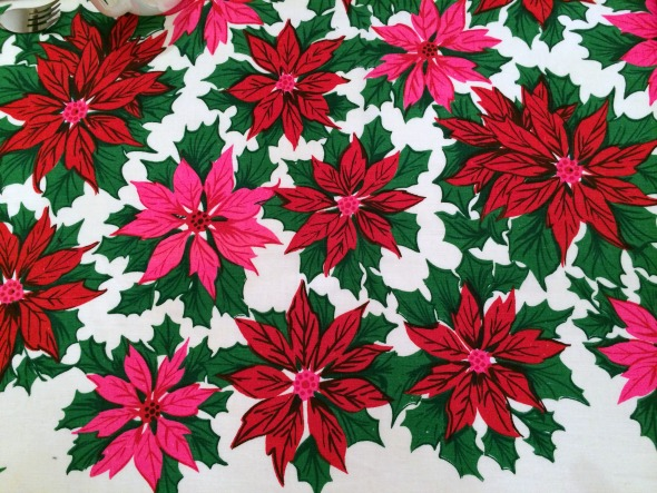1960s poinsettia tablecloth