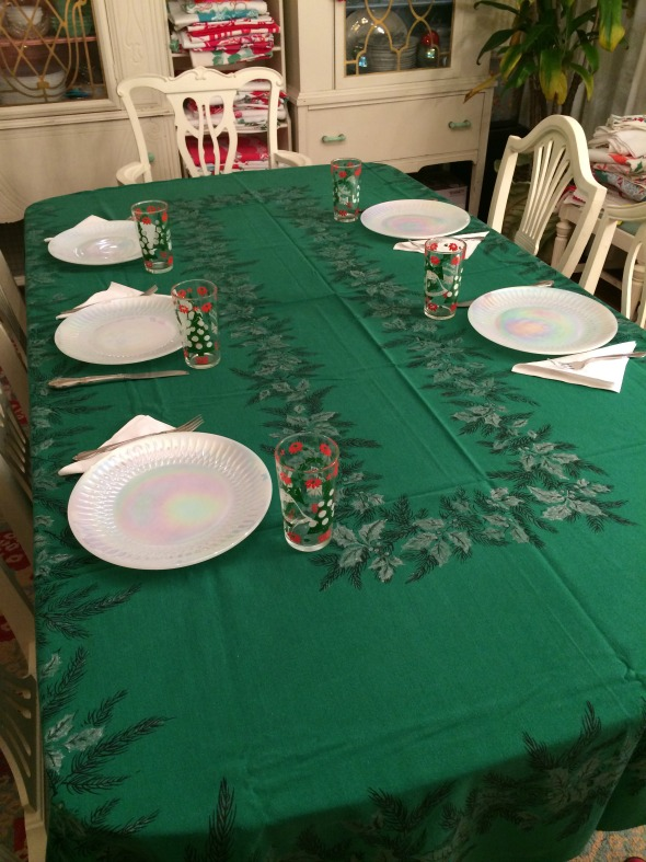 vintage green holly tablecloth
