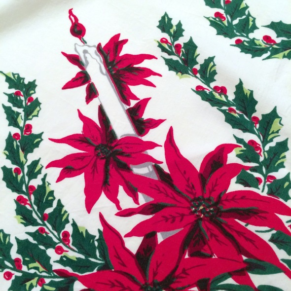 vintage poinsettia tablecloth detail