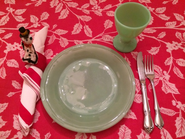 red holly tablecloth with jadeite