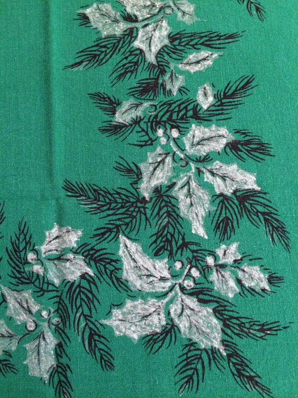 silvery holly vintage tablecloth design
