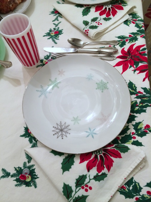 snowflake china and poinsettias placesetting