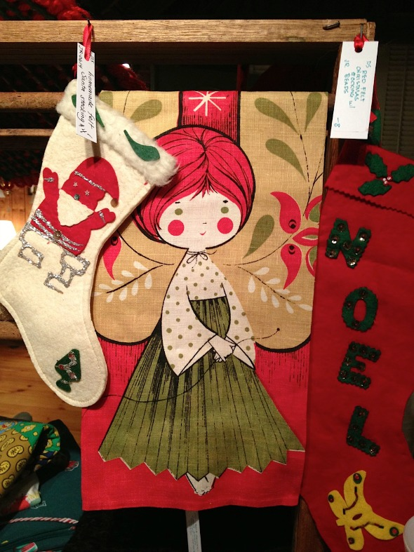 vintage christmas towel and felt stockings