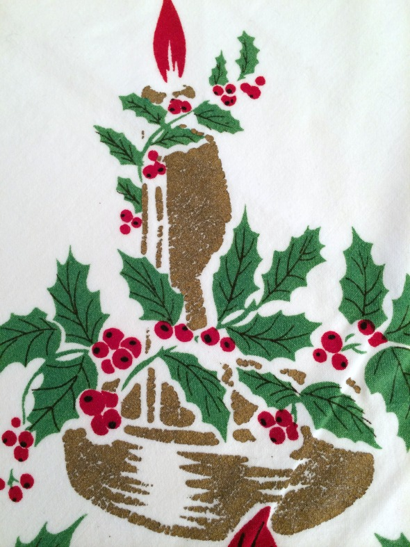vintage christmas tablecloth gold candle