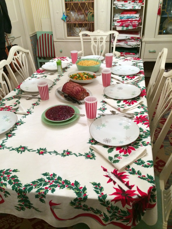 vintage poinsettia christmas tablecloth setting