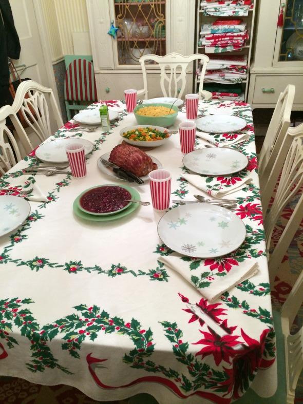 vintage poinsettia christmas tablecloth setting
