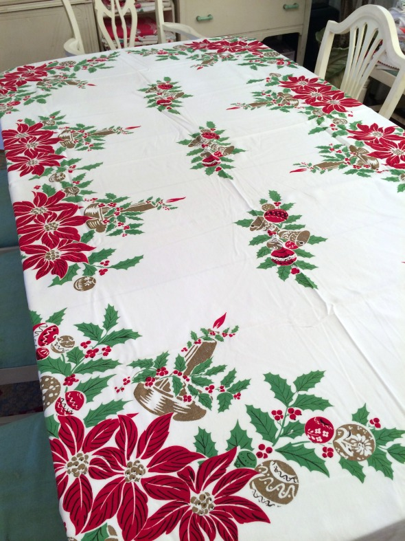 On the fourth day of christmas a too new vintage for 12 days of christmas table cloth