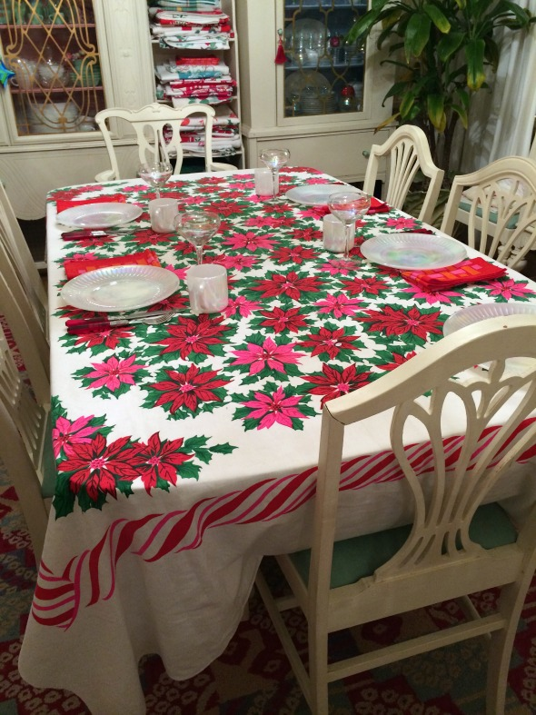vintage tablecloth christmas brunch setting