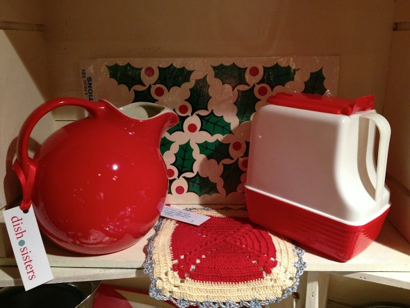 red vintage pitchers
