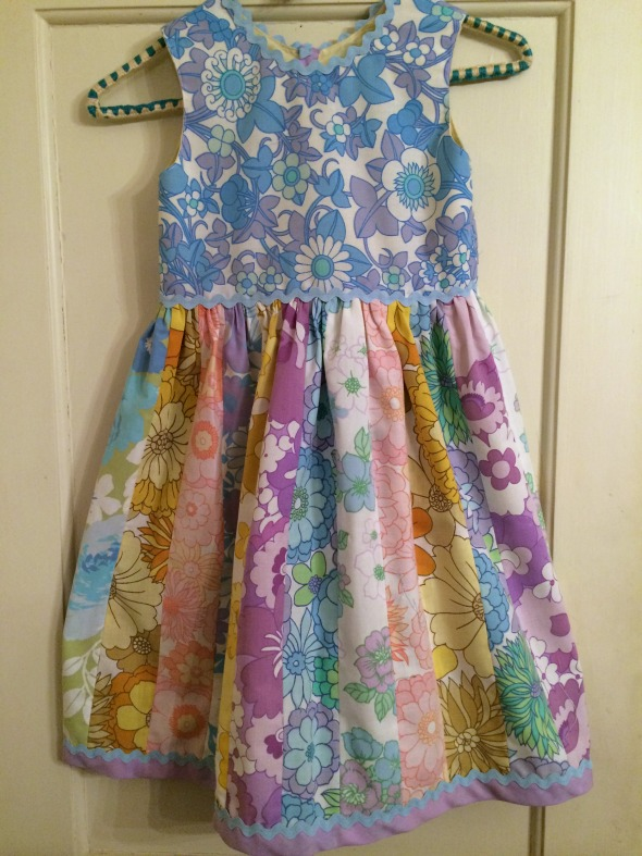 finished dress on hanger