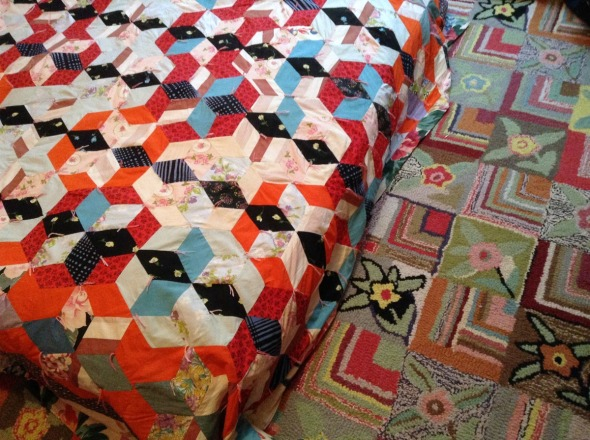 vintage quilt and hooked rug